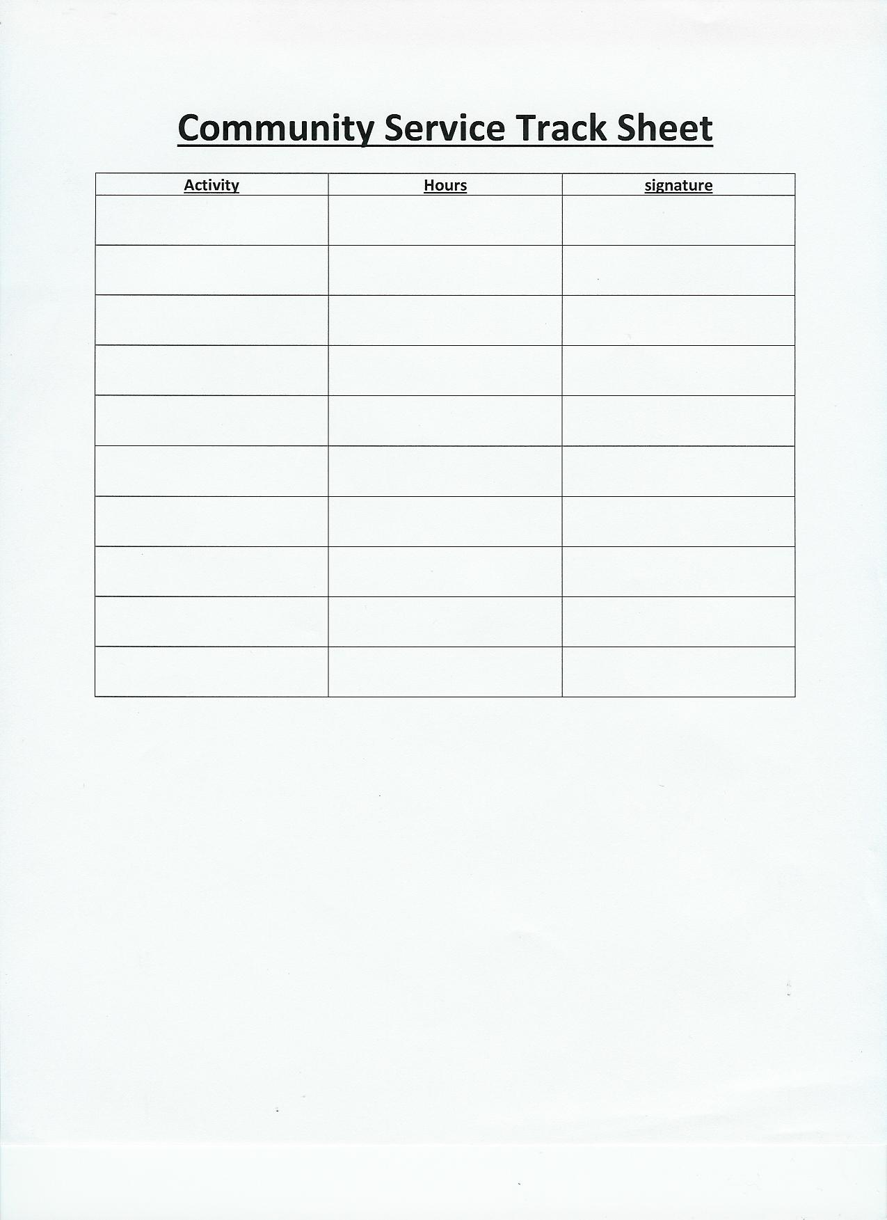 Essay community hours sheet